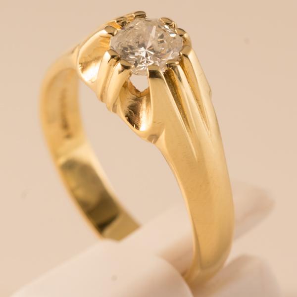 Solitaire Mens 18ct Diamond Gold Ring w08OknXP
